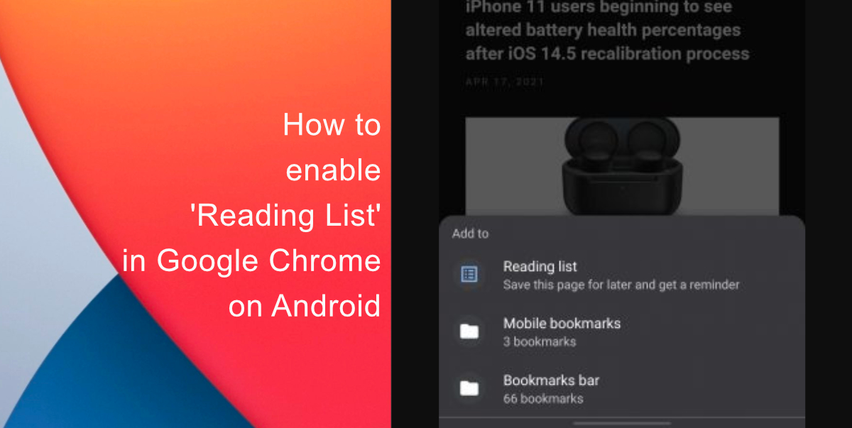 How to enable 'Reading List' in Google Chrome on Android