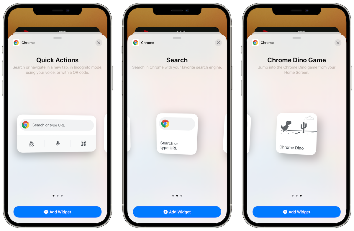 Chrome 90 for iPhone widgets