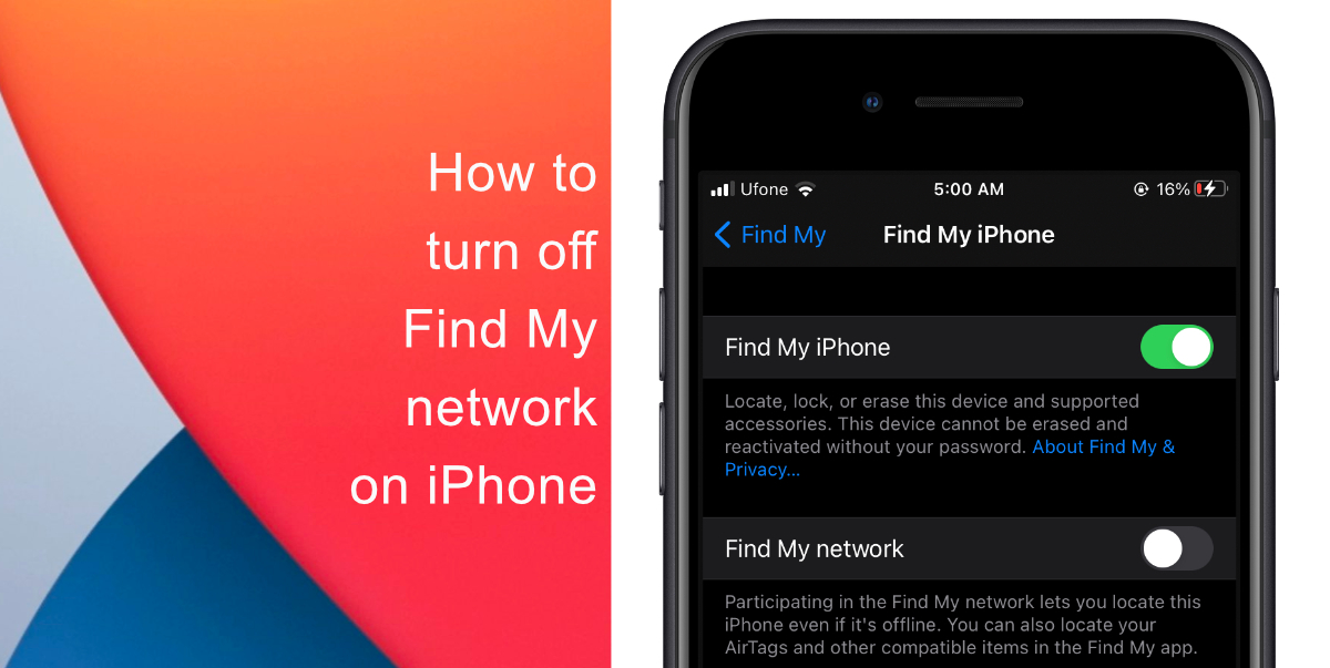How to turn off Find My network