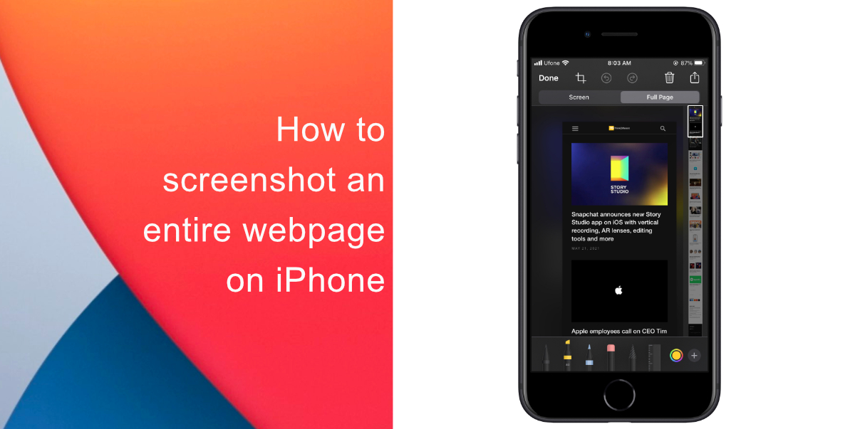 How to screenshot an entire webpage on iPhone