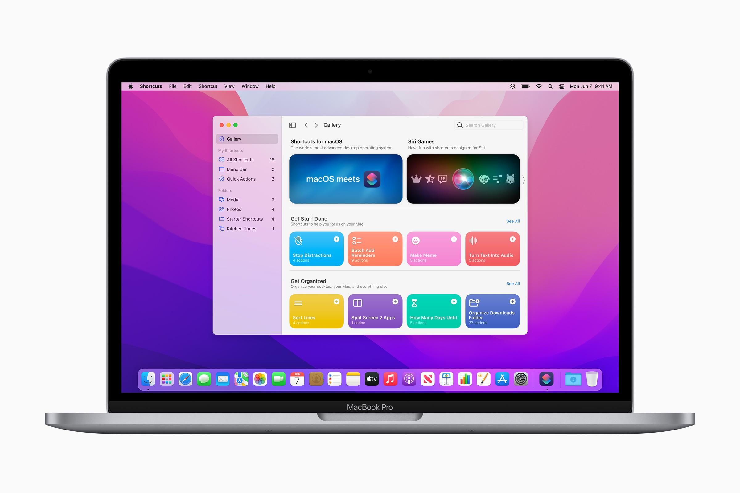 macOS Monterey Shortcuts app
