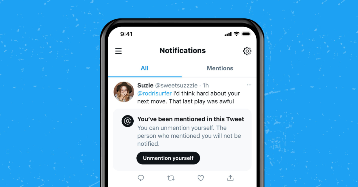 Twitter Unmention concept
