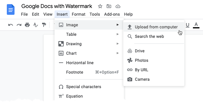 How to add watermark in google Docs