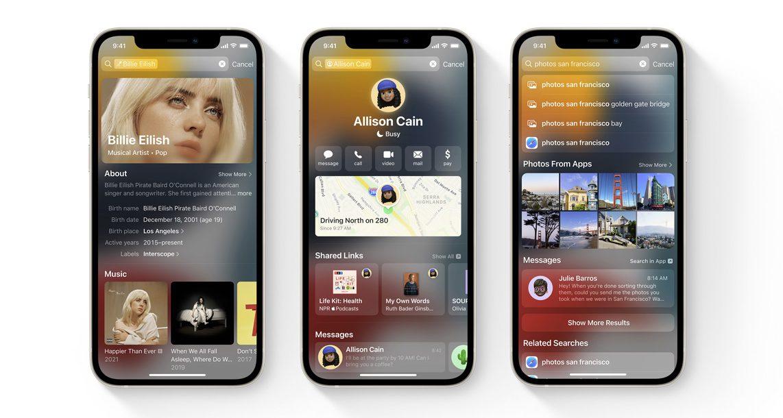 iOS 15 Spotlight rich results