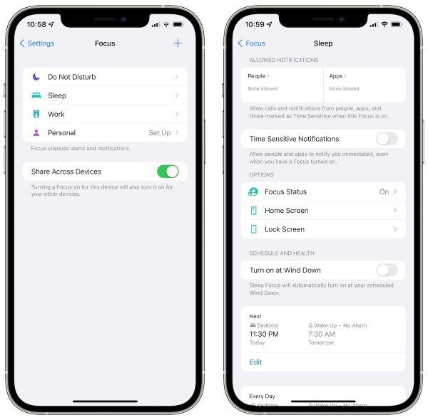 iOS 15 beta 3 Focus updates