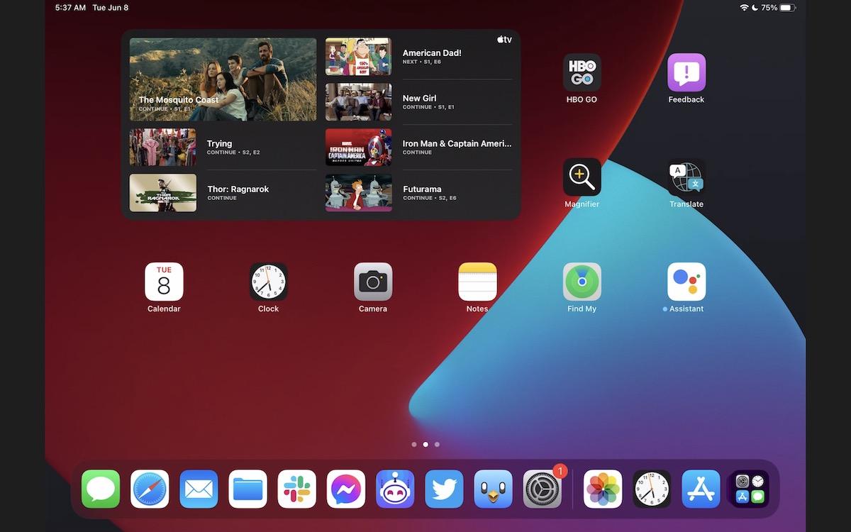 iPadOS 15 large widgets