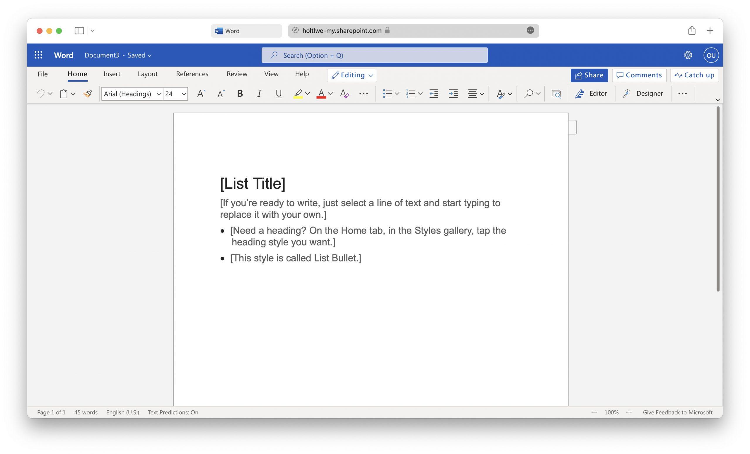 Office Word docx files Mac