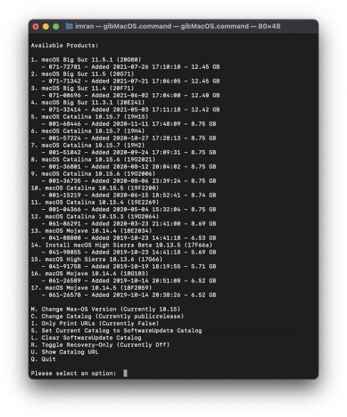 gibMacOS Terminal download macOS