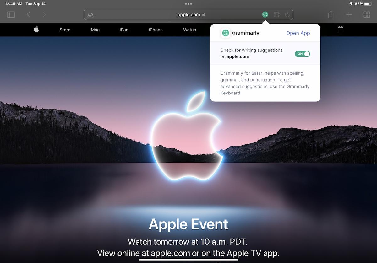 Grammarly for Safari iPadOS 15 3