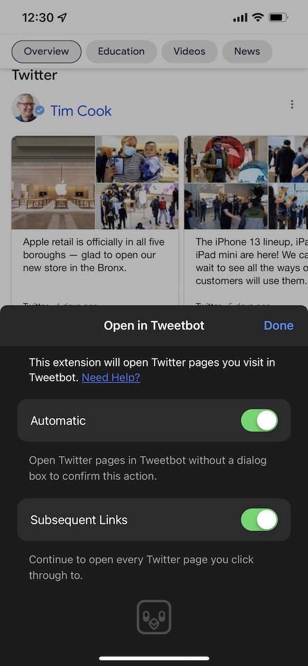 Open in Tweetbot extension