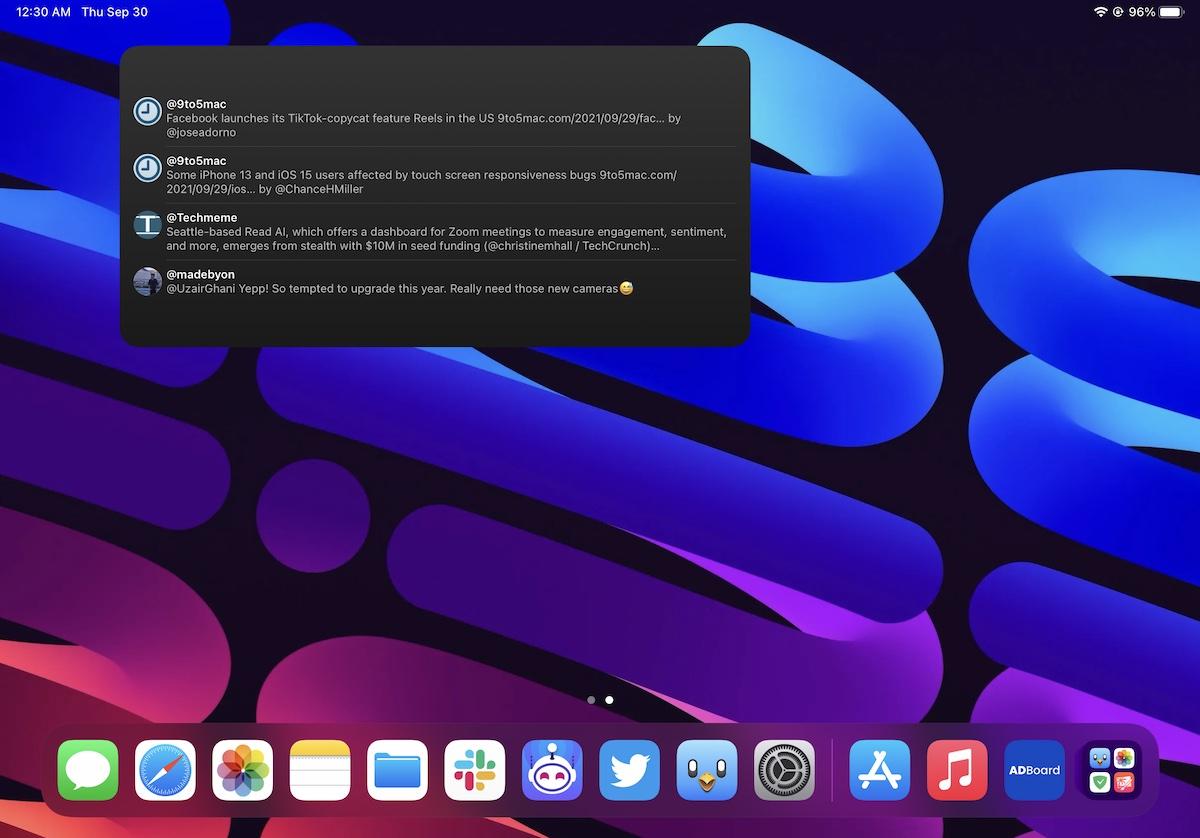 Twitter large widget iPad