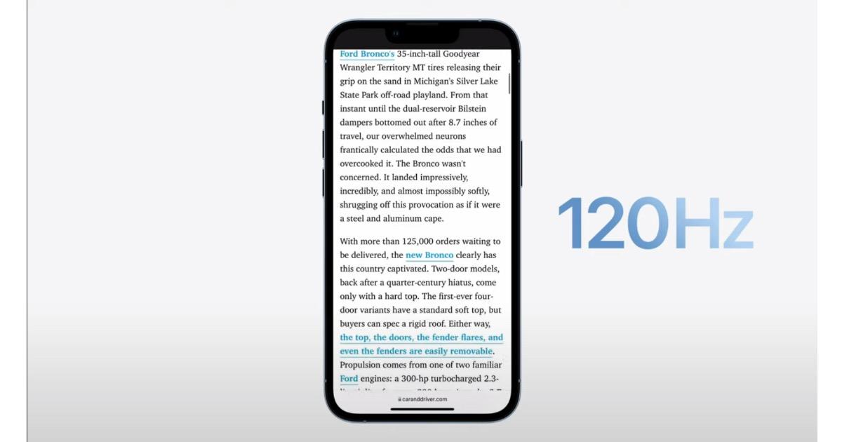 iPhone 14 ProMotion 120Hz