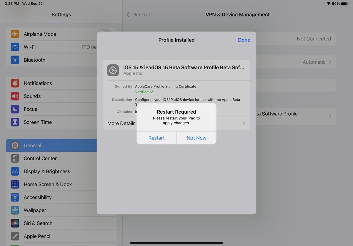 install iPadOS 15.1 beta 2
