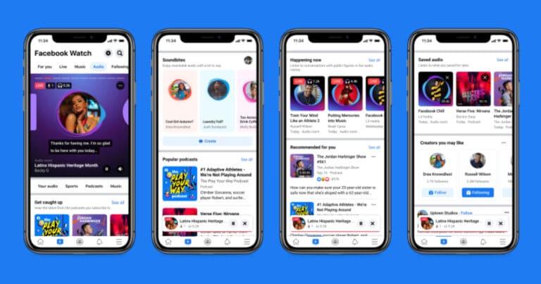 Facebook Audio hub tab