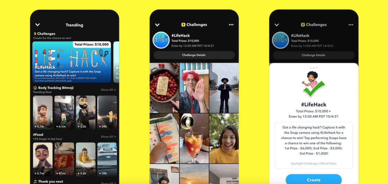 Snapchat - spotlight challenges